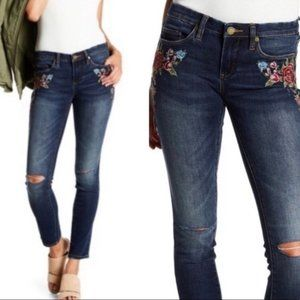 Blank NYC Floral Skinny Distressed Ripped Jeans